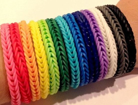 Браслет з гумок французька коса на рогатці і верстаті - схема плетіння