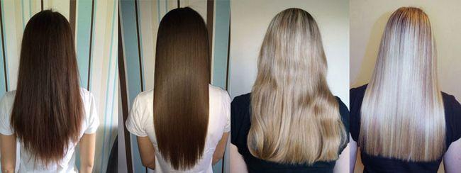 Бразильське вирівнювання волосся на довгому волоссі