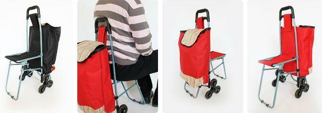 господарська сумка на коліщатках зі стільцем