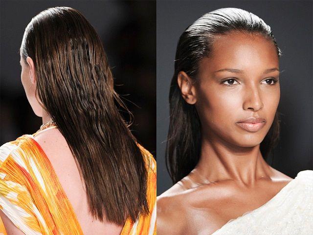 Укладання ефект мокрого волосся