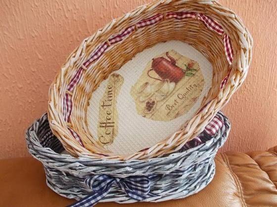 Плетіння кошики з газетних трубочок