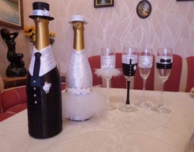 Шампанське на весілля: дизайн пляшки своїми руками. Прості майстер-класи