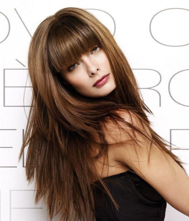 Стрижка на довге волосся з чубчиком. Чубчика в стрижках на довге волосся