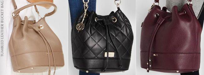 Сумки DKNY tumbled leather bucket bag