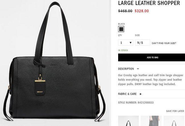 Ціна на сумки DKNY large leather shopper