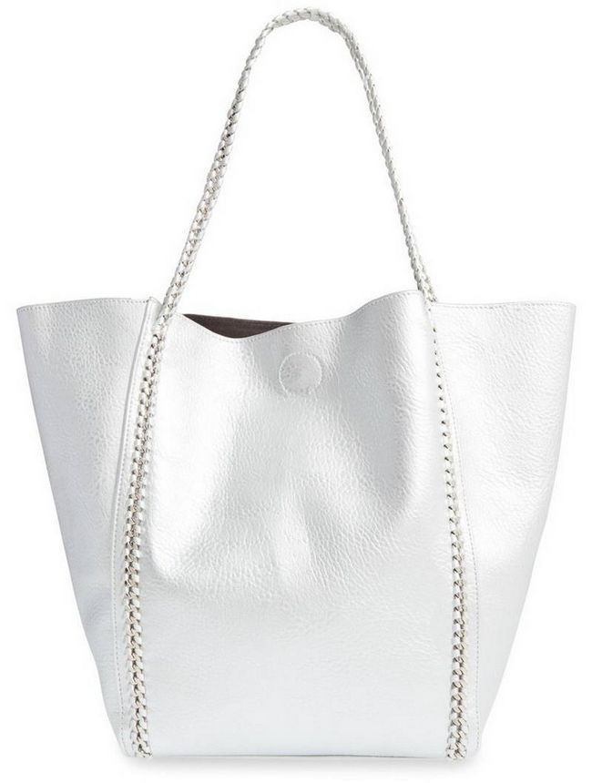 Phase 3 Chain Faux Leather Tote in Silver, $ 98