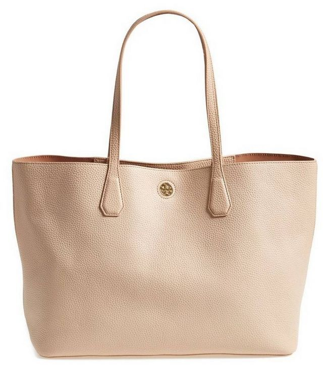 Tory Burch Perry Leather Tote in Light Oak, $ 395