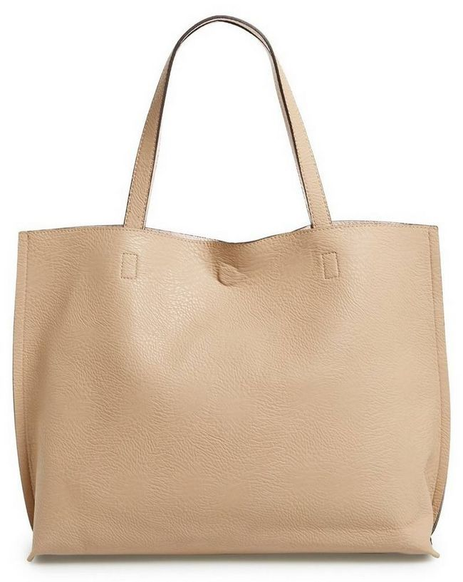 Street Level Reversible Faux Leather Tote & amp; Wristlet in Taupe & amp; Pale Pink, $ 48
