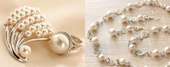 золоті прикраси з перлами